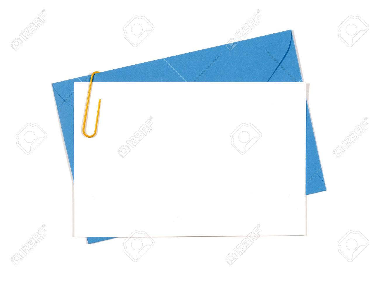 blank invitation or message card with blue envelope and yellow