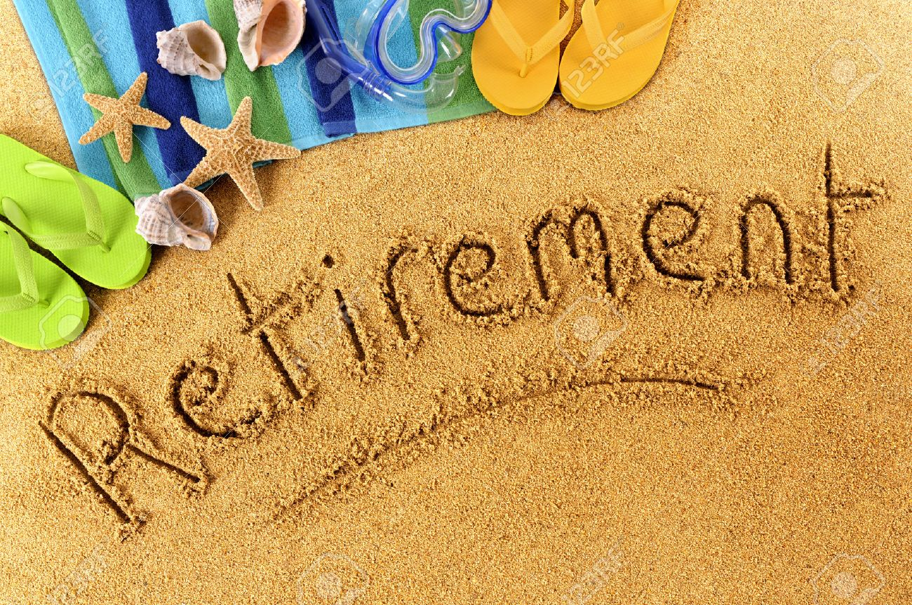 beach background with towel and flip flops and the word retirement