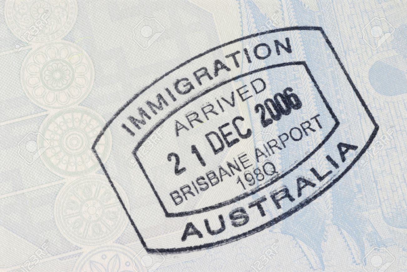 Australia Immigration Entry Stamp On The Inside Page Of A Passport Space For Copy
