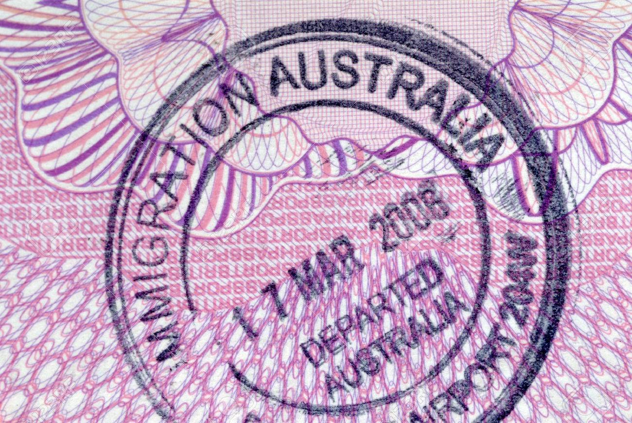 Australia Immigration Entry Stamp On The Inside Page Of A Passport Stock Photo
