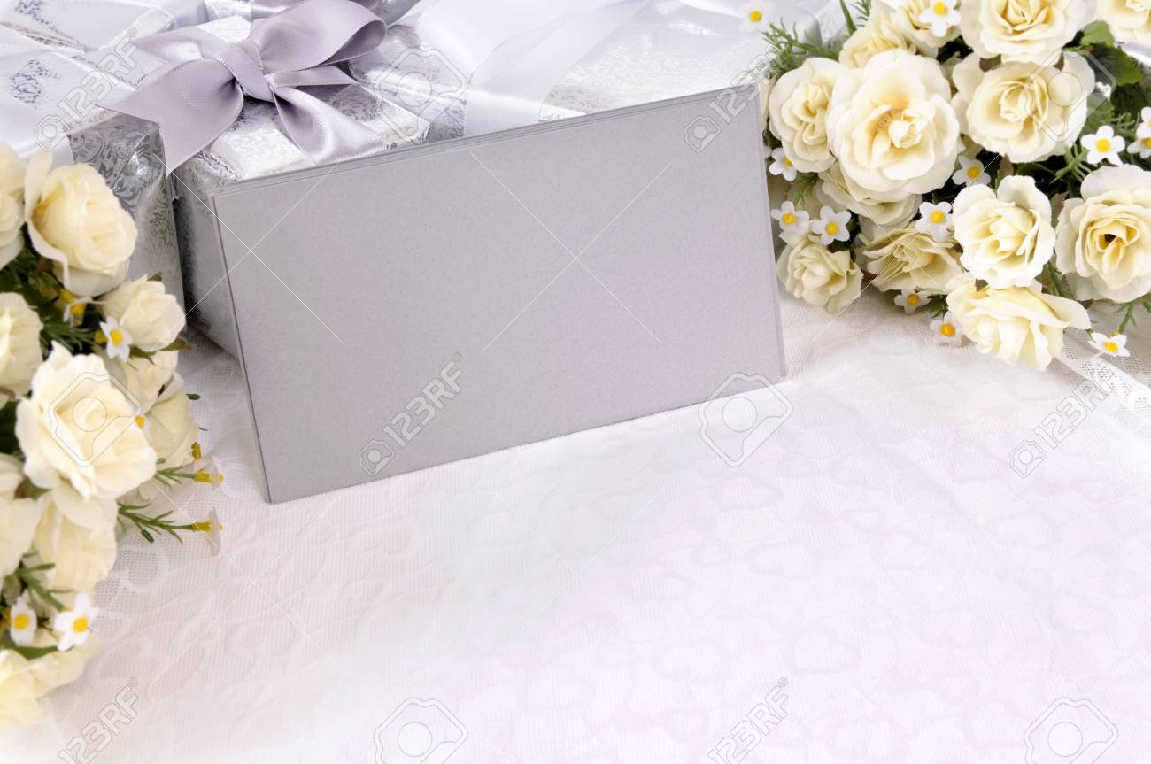 Silver Gray Envelopes Or Invitations With Several Wedding Gifts ...