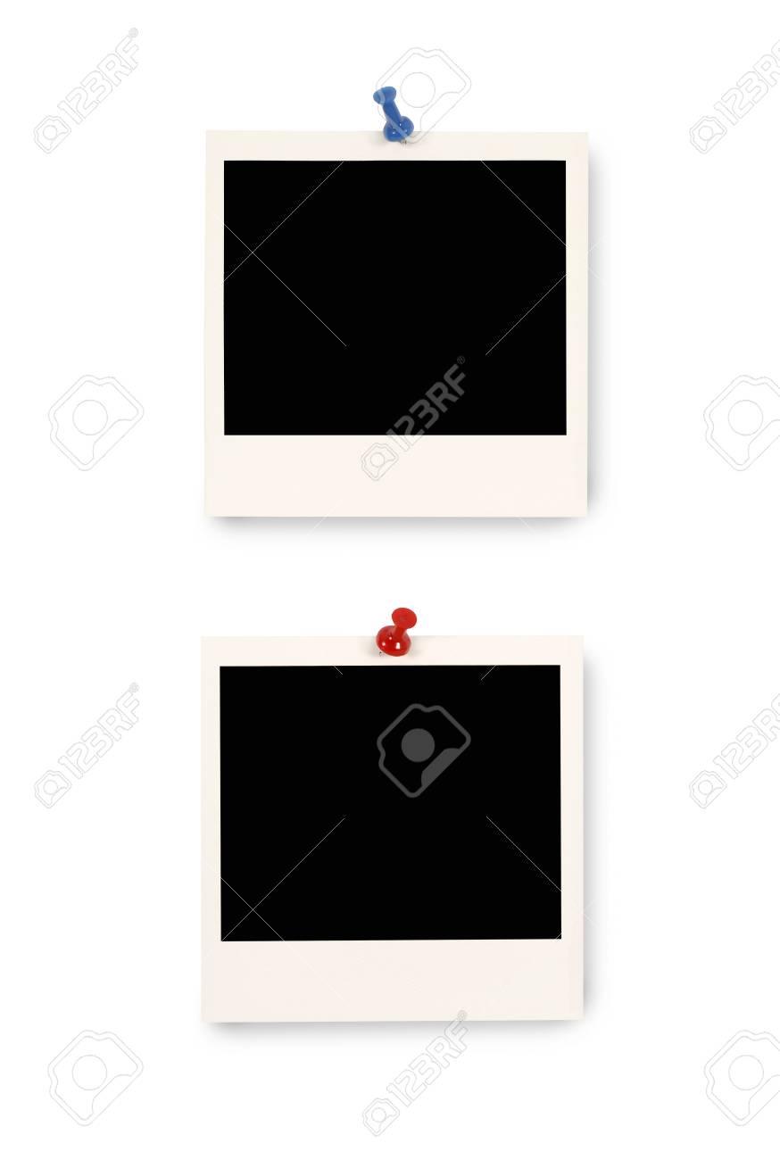 Zwei Leere Instant Kamera Fotodrucke Mit Blauen Und Roten Pushpins ...