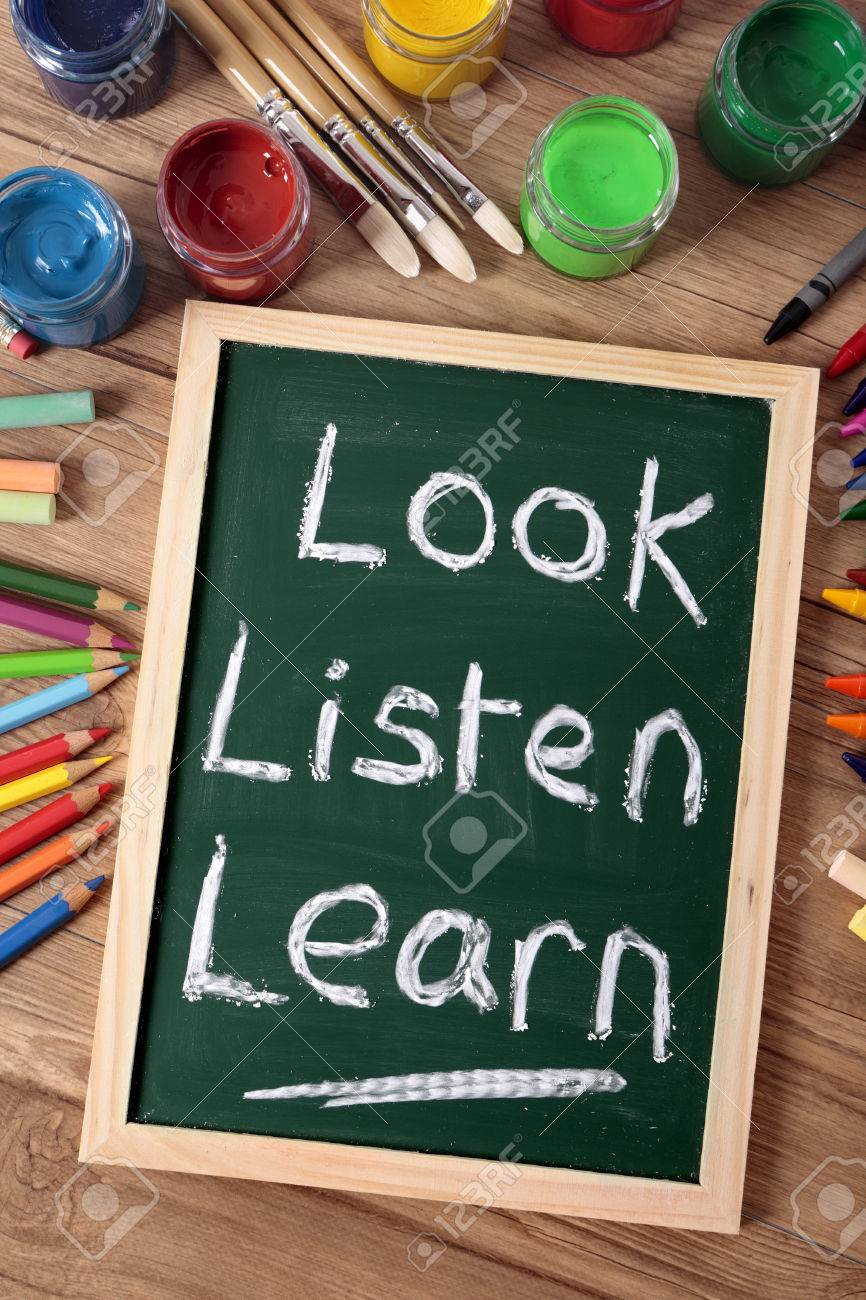 the words look listen learn written on a small elementary