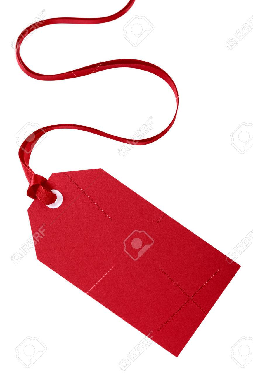 Gift tag stock photos royalty free business images red gift tag with red ribbon isolated on white negle Images