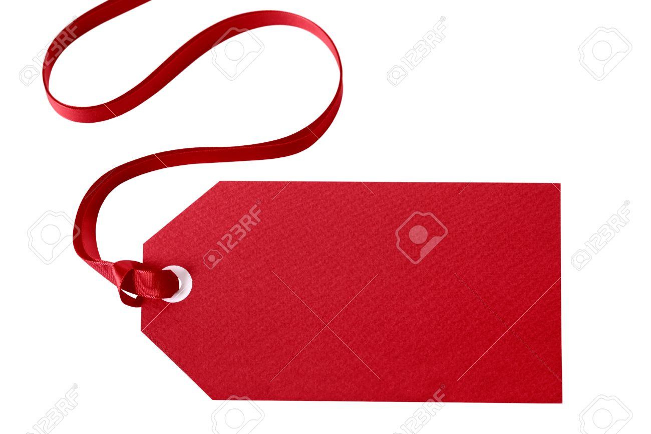 Red gift tag or price ticket with red ribbon isolated on white (with path) - 45349149