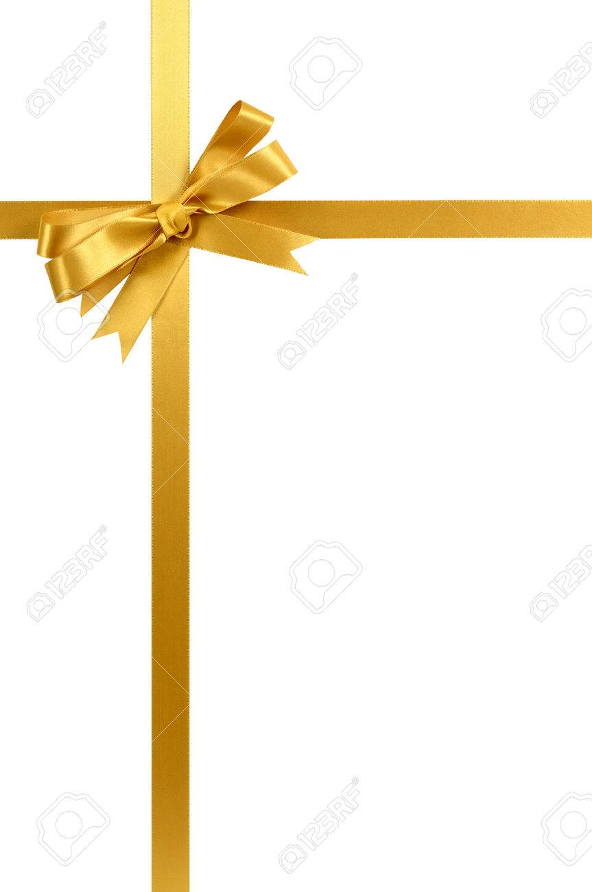 Gold gift ribbon and bow isolated on white vertical - 45601444