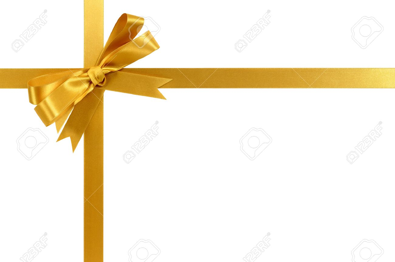 Gold gift ribbon and bow isolated on white - 45601459