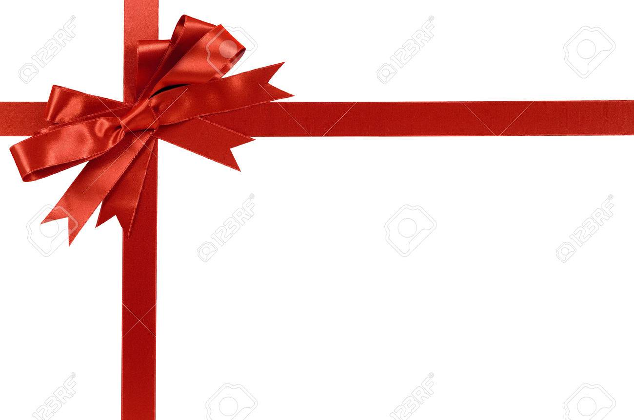 Red gift bow and ribbon isolated on white background - 45895879