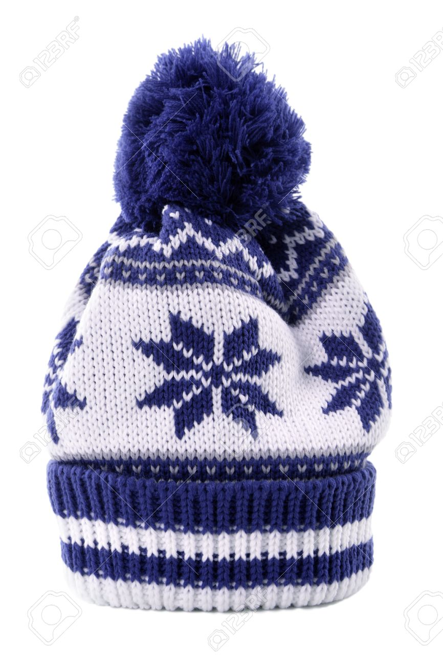 Blue Bobble Hat Or Knit Hat With Snowflake Pattern Isolated Against ...