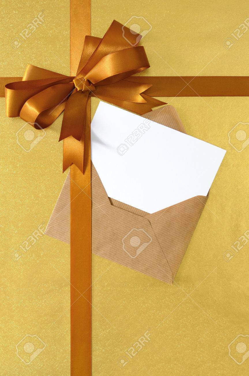 Christmas Or Birthday Card With Vertical Gift Ribbon And Bow In Gold Satin On Shiny Paper