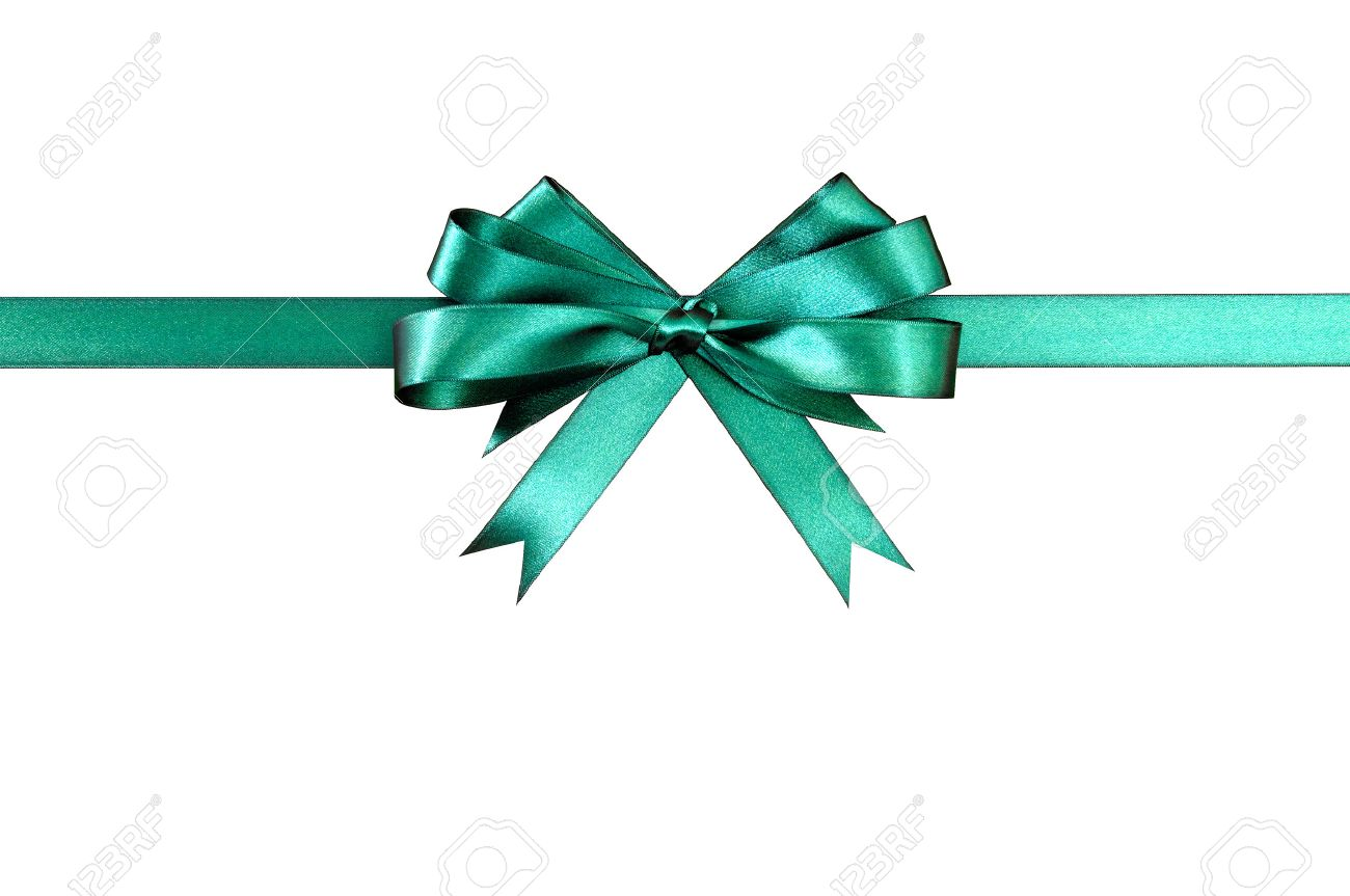 green gift ribbon bow horizontal isolated on white