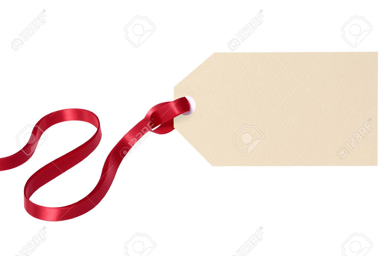 Plain gift tag with red ribbon isolated on white background - 45895742