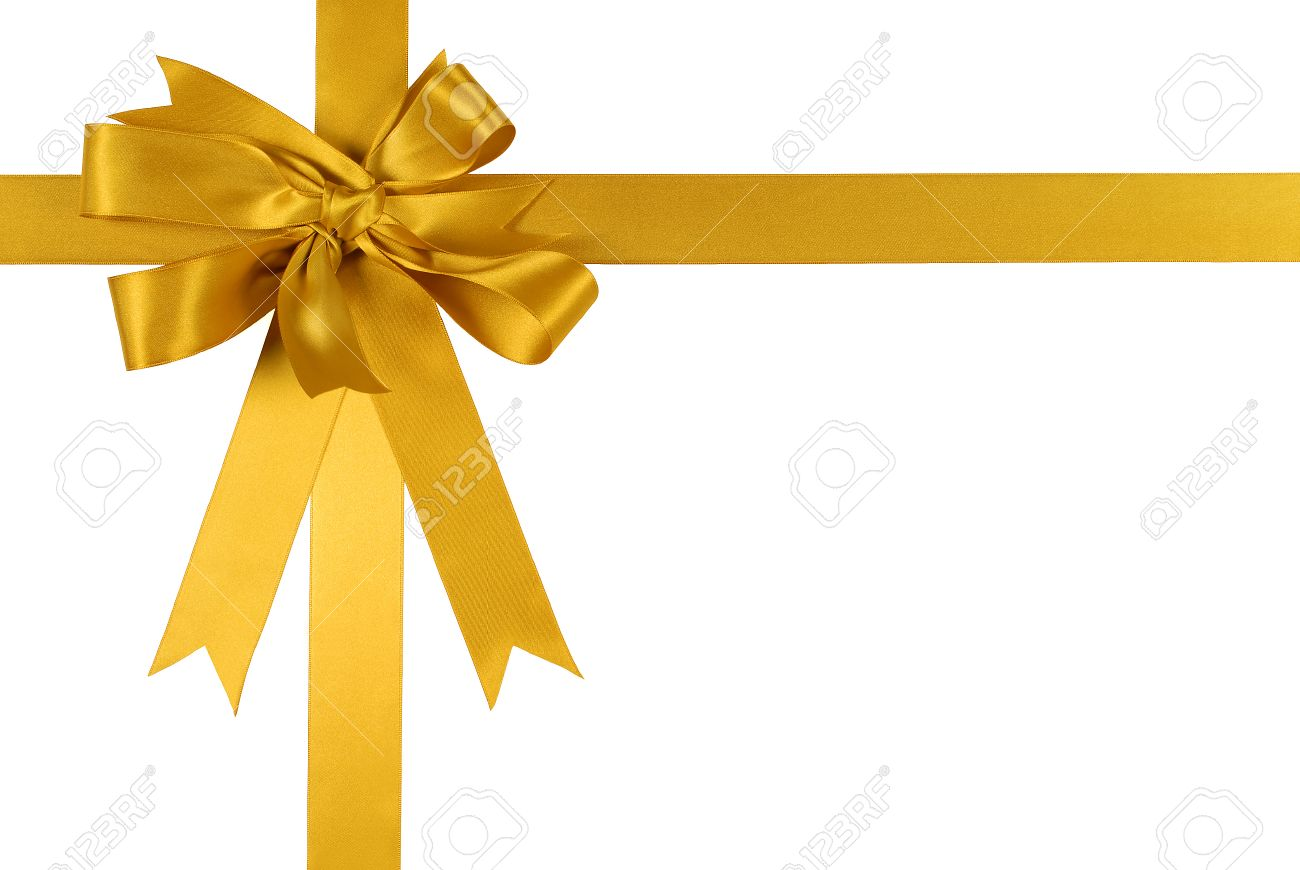 yellow gold gift ribbon bow isolated on white background stock photo
