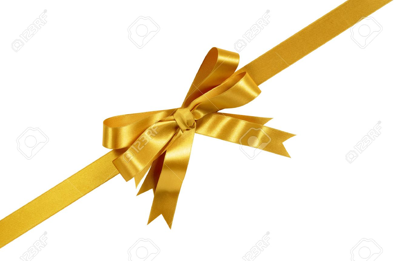 gold corner diagonal gift bow ribbon isolated on white background