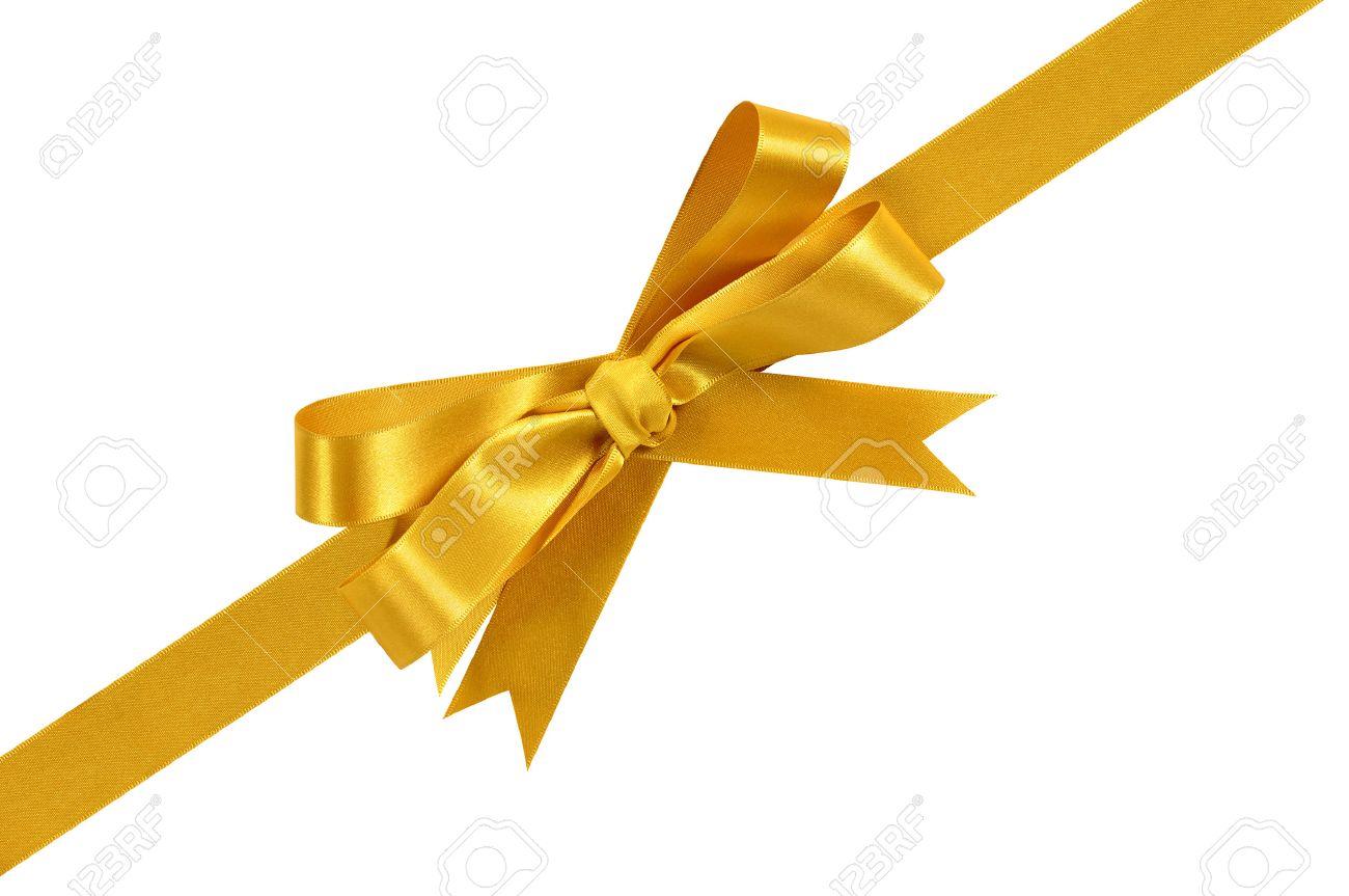 gold corner diagonal gift bow ribbon isolated on white background