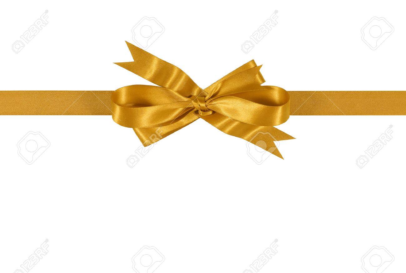 Gold gift ribbon bow isolated on white background straight horizontal - 46803886
