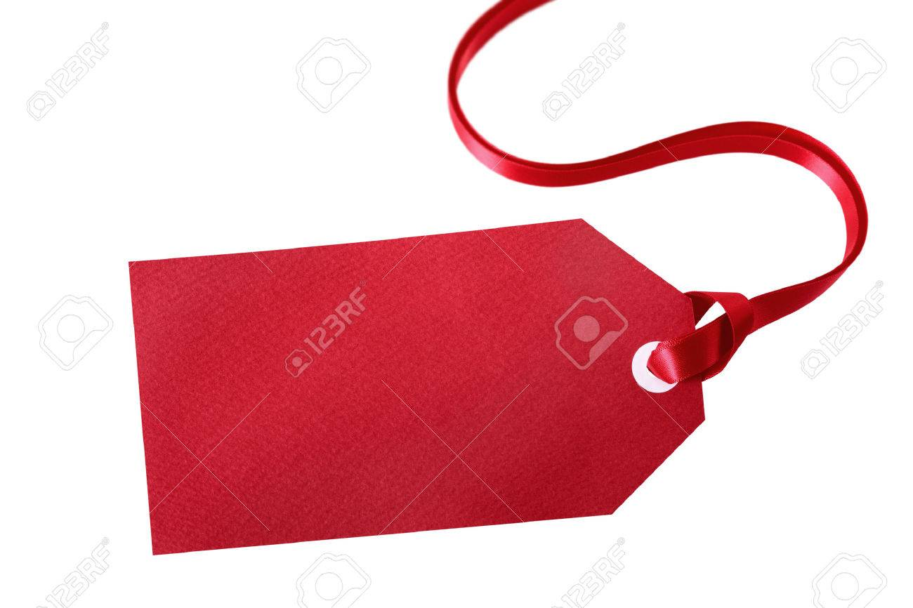 blank red gift tag with curly ribbon isolated on white background