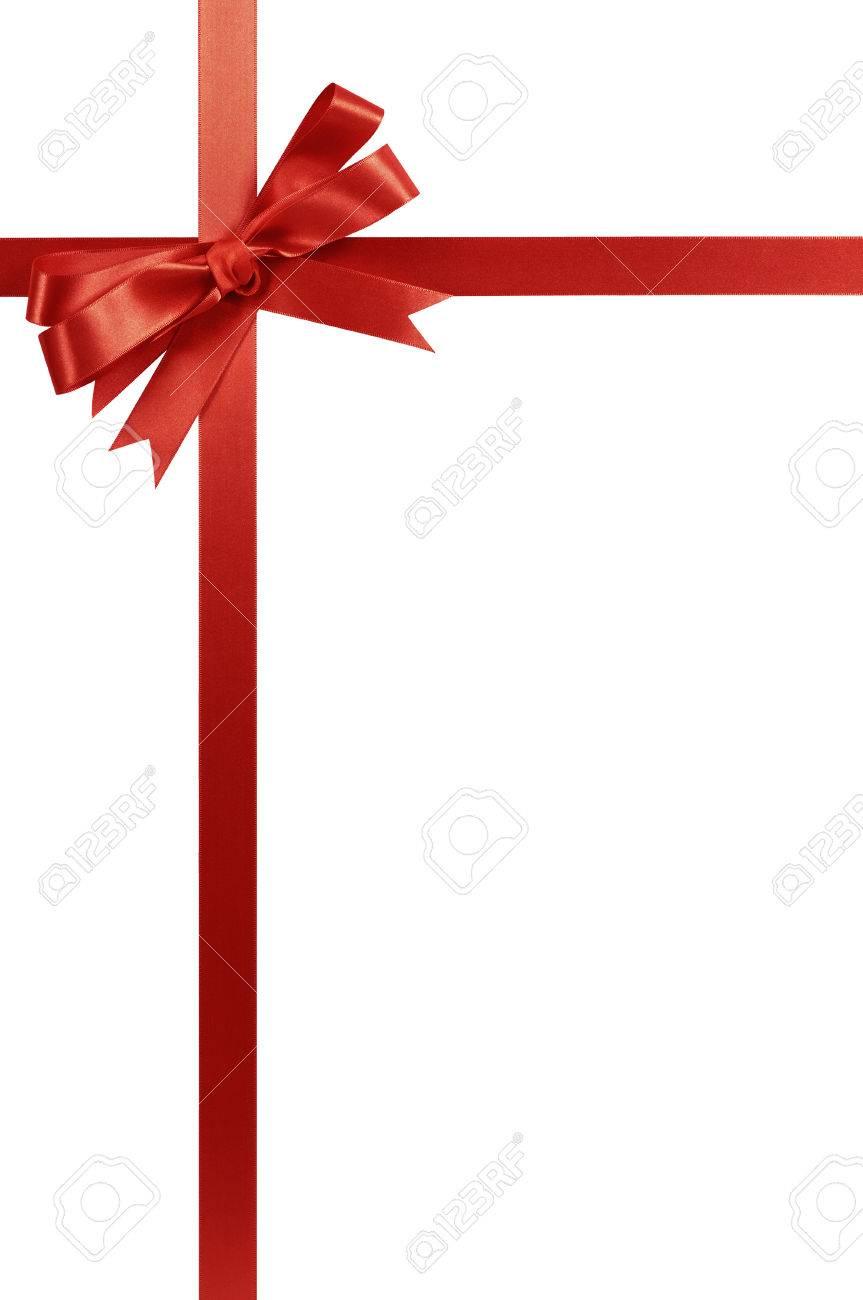 Red gift ribbon bow vertical corner border frame isolated on white. - 49192339