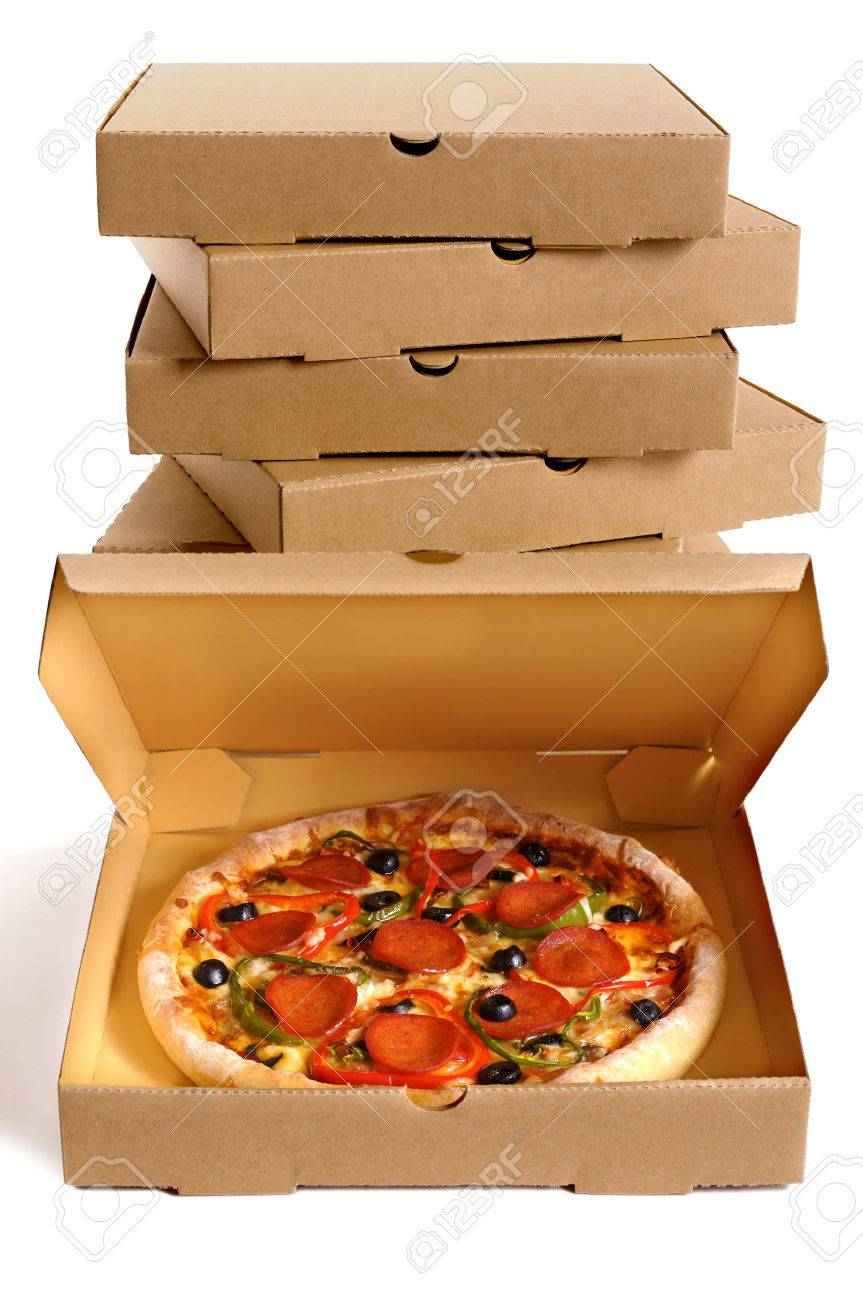 Pizza with a stack of delivery boxes isolated on a white background. - 50816516