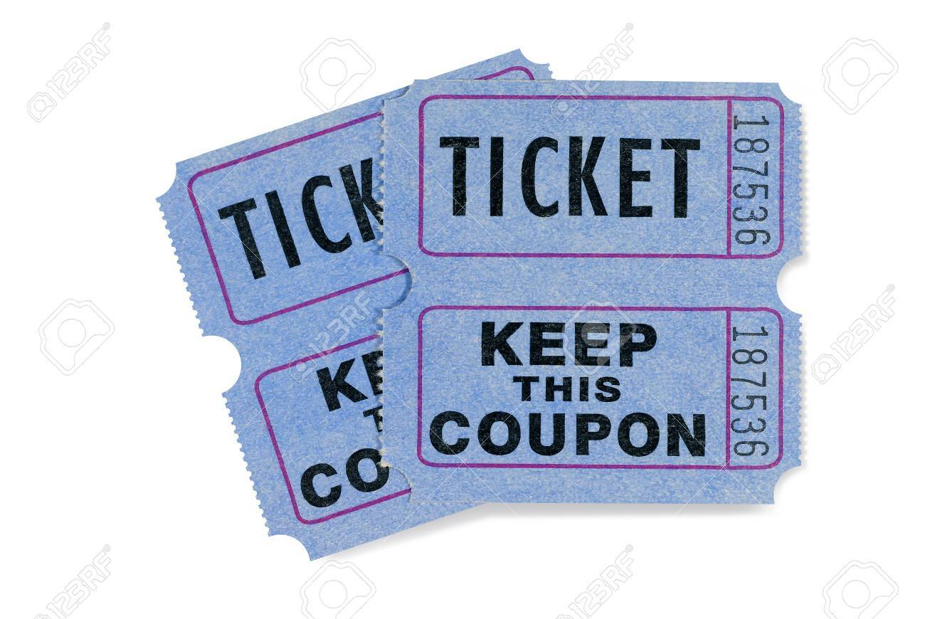 blue raffle tickets with coupon attached stock photo picture and