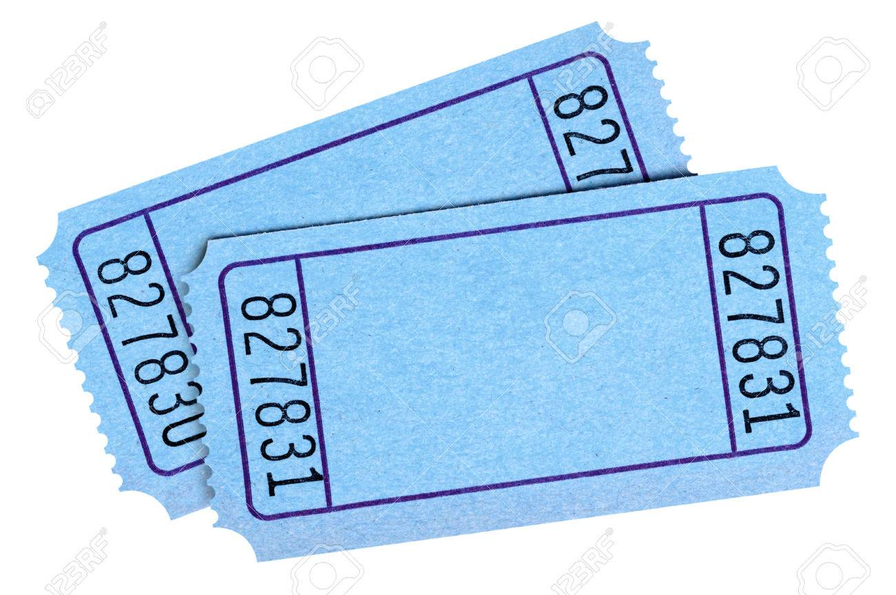 Pair Of Blank Blue Movie Or Raffle Tickets Isolated On White Stock Photo Picture And Royalty Free Image Image 65112596