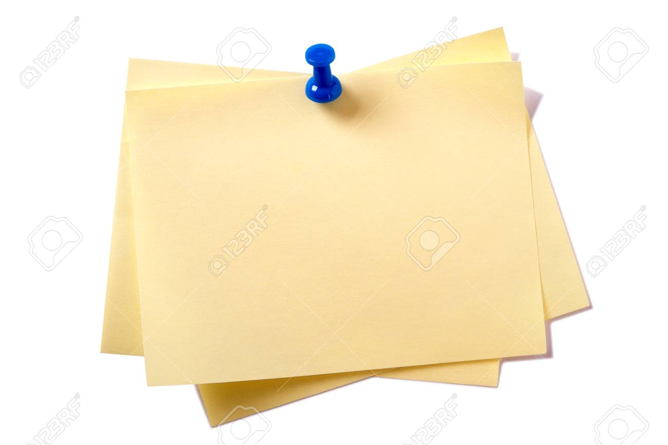 Yellow sticky post notes with pin isolated on white - 92917129