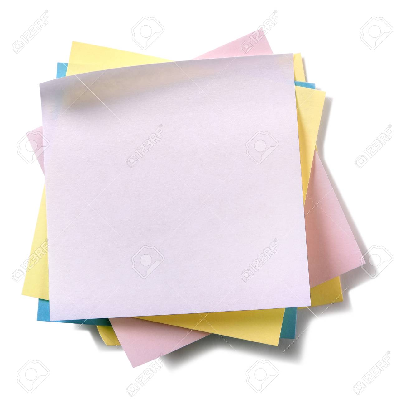 Untidy pile various colors sticky post notes isolated on white - 96048103