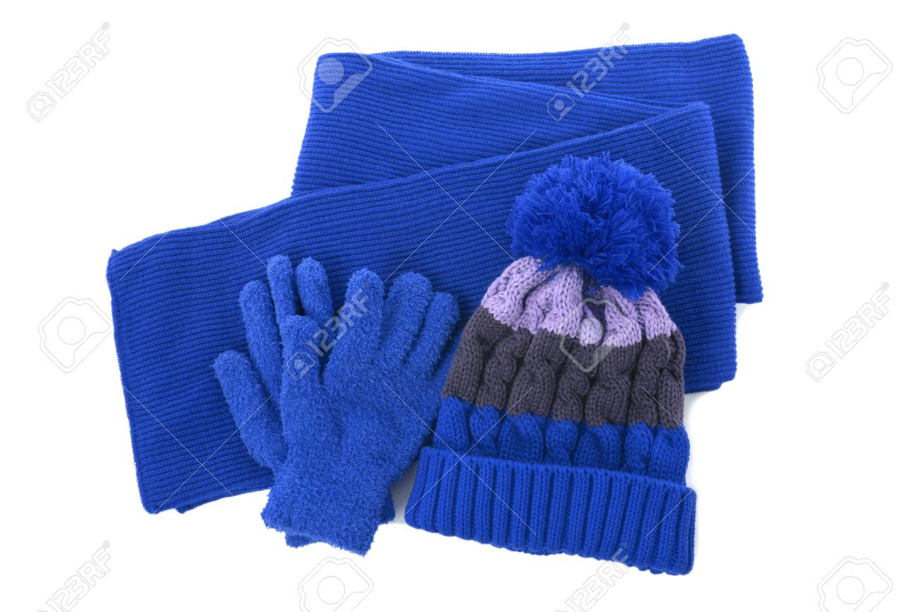 Blue winter knitted bobble hat, scarf gloves isolated - 115629466