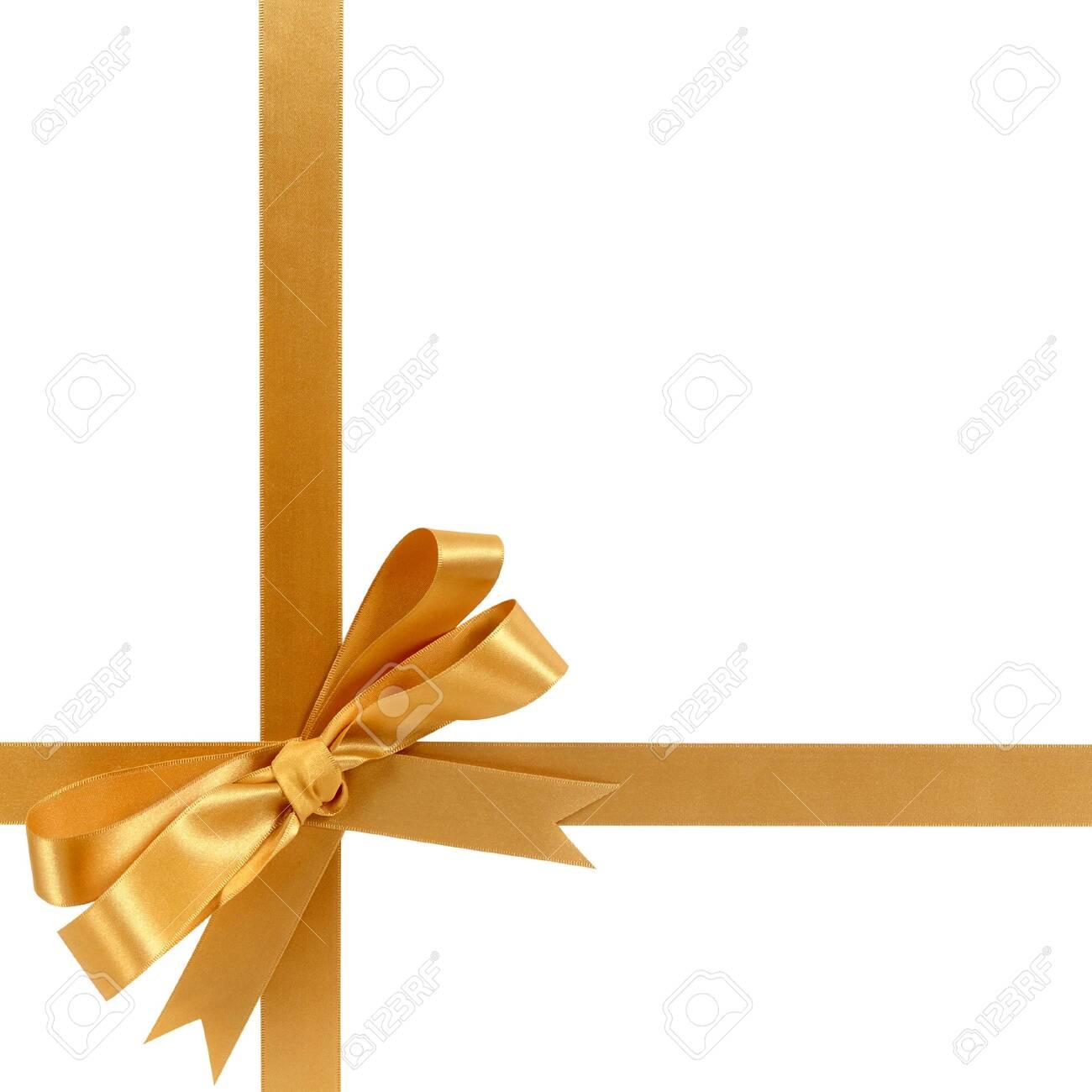 Gold gift ribbon bow horizontal bottom corner cross shape isolated on white. - 131002612
