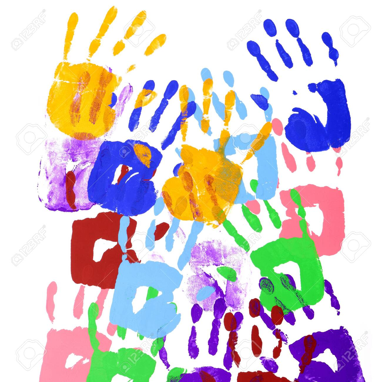 Multicolor handprints on a white background - 136093816