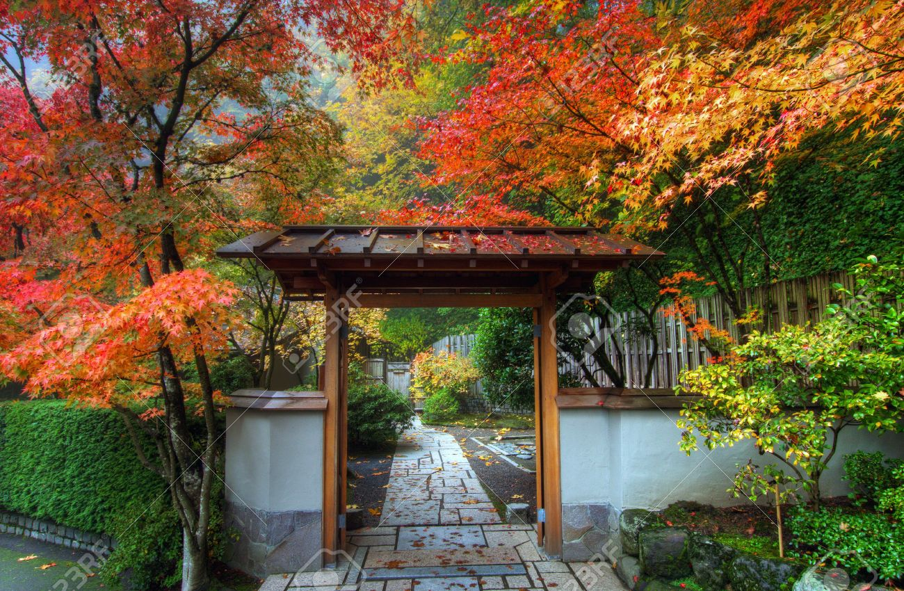 Entryway In Portland Japanese Garden In The Fall Stock Photo