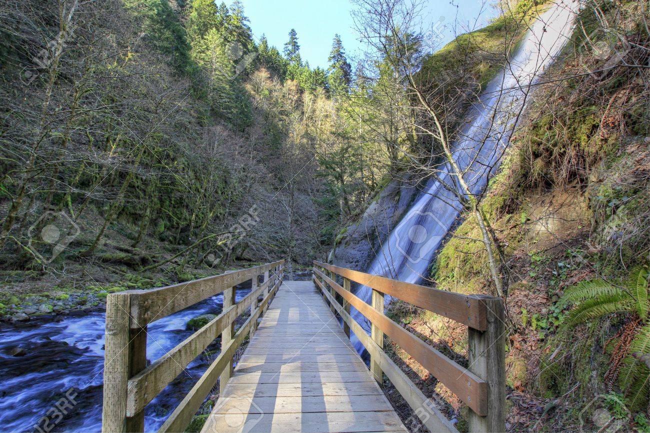 Bridge over Tanner Creek at Columbia Gorge Scenic Area Stock Photo - 6685207