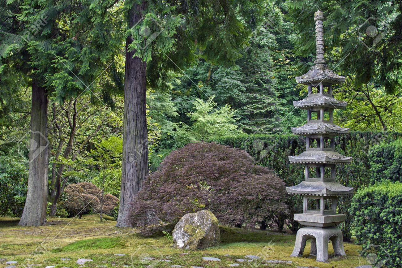 Stone Pagoda At The Portland Japanese Garden 2 Stock Photo   7375100