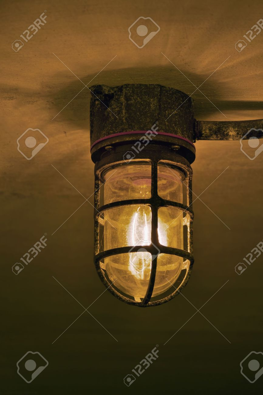Underground Military Bunker Antique Old Tungsten Lamp Stock Photo