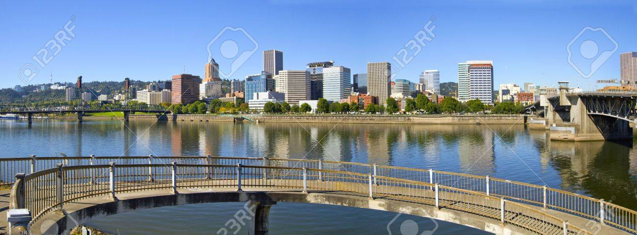 Portland Oregon Downtown Skyline and Hawthorne Bridge Reflection Panorama 2 Stock Photo - 7898494