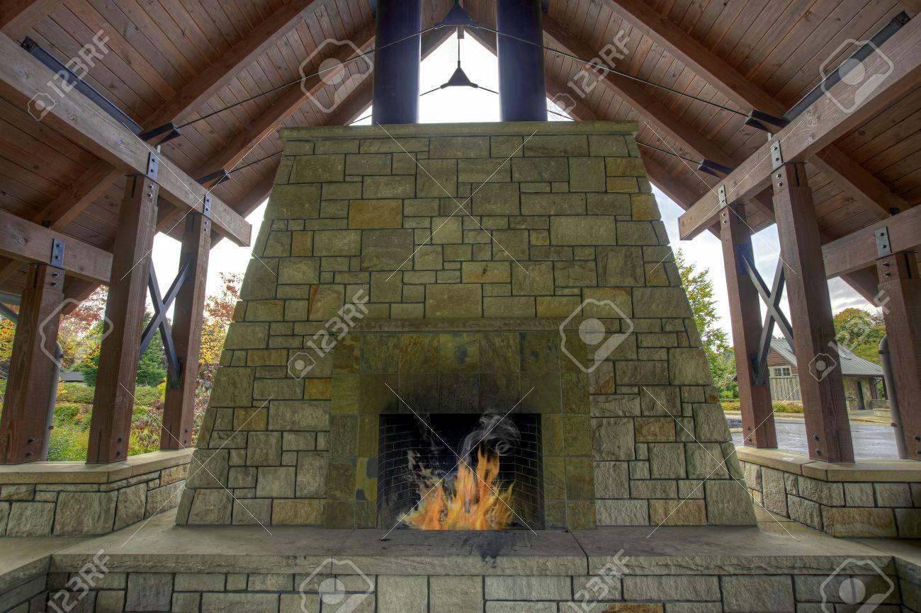 Outdoor Garden Backyard Stone Fireplace in Public Park Stock Photo - 8098528