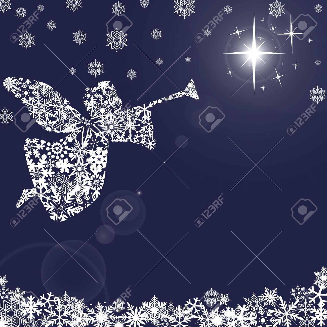 Christmas Angel with Trumpet and Snowflakes Blue Background Stock Photo - 8211779