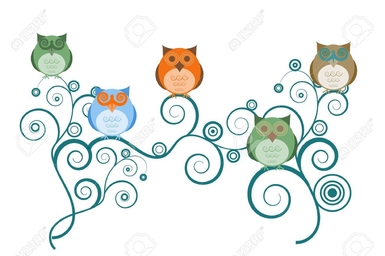 colorful owls on tree branches white background drawings stock