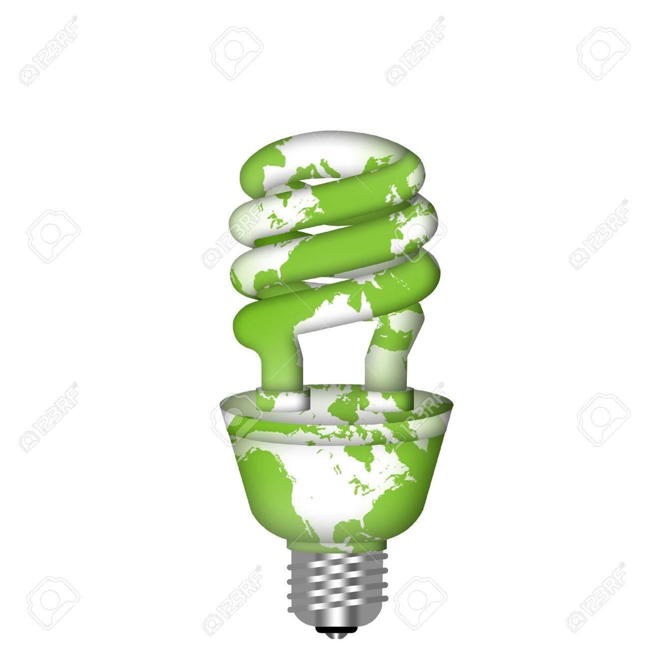 Energy Saving Eco Lightbulb with World Map on White Background Stock Photo - 8346465