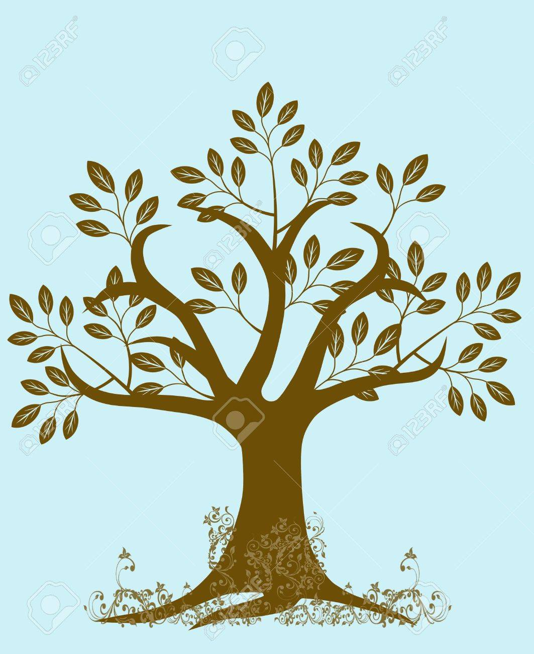 Abstract Tree Silhouette with Leaves and Vines on Blue Background Stock Photo - 8346487
