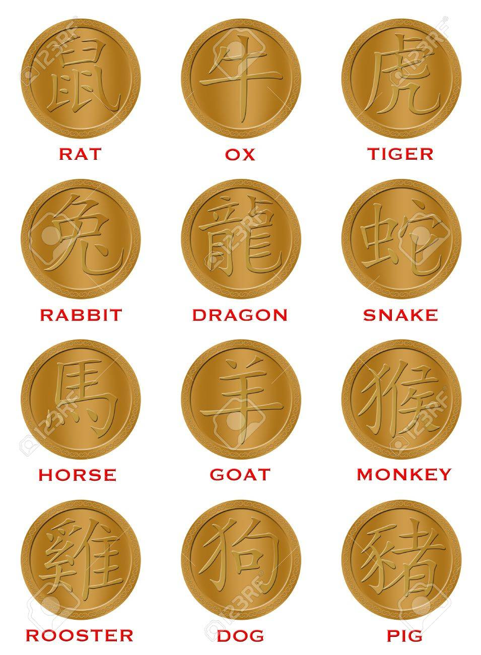 Twelve Chinese New Year Zodiac Gold Coins Illustration Stock Photo - 8379532