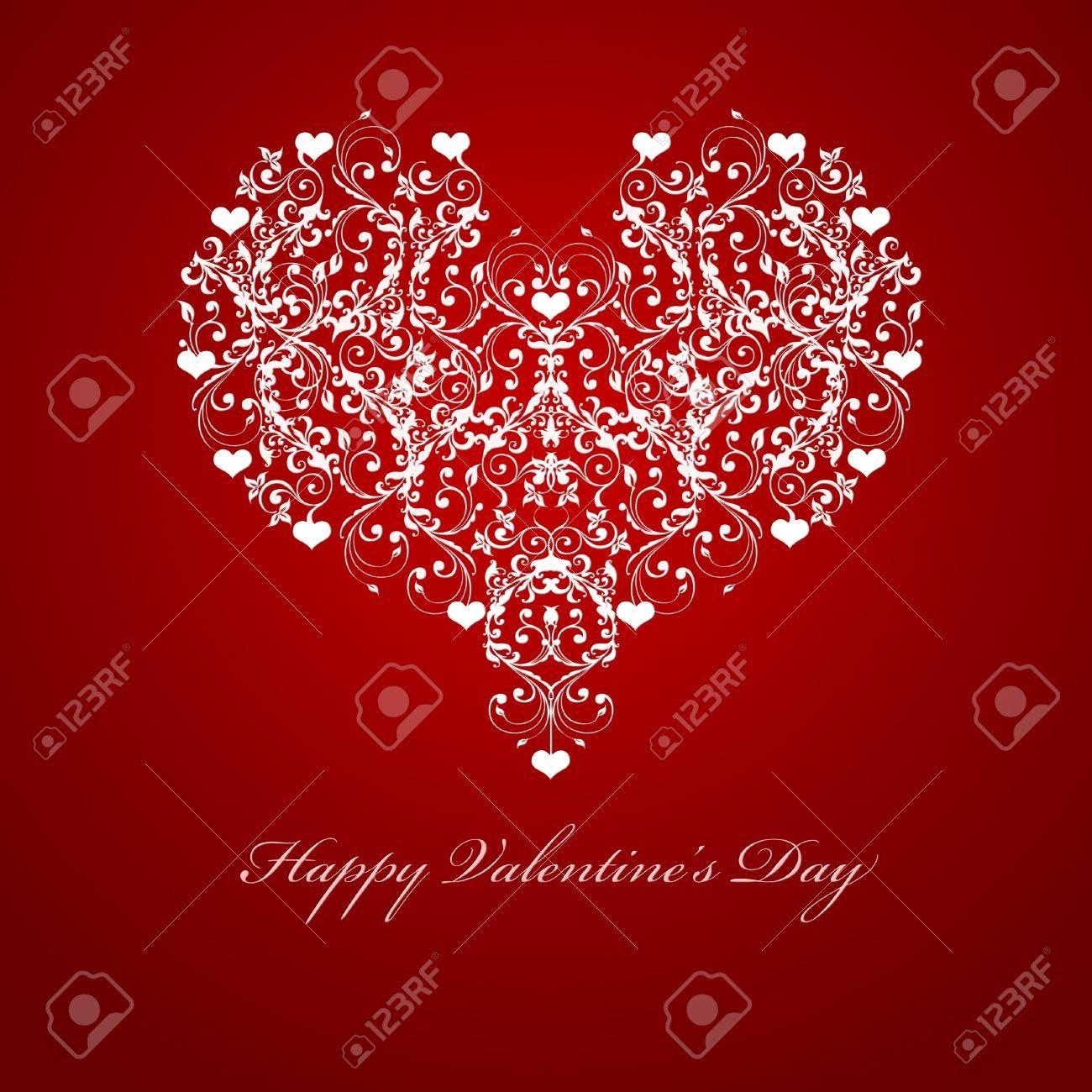 Happy Valentines Day Embossed Leaf Vine Hearts Motif Illustration Red Stock Illustration - 8379538