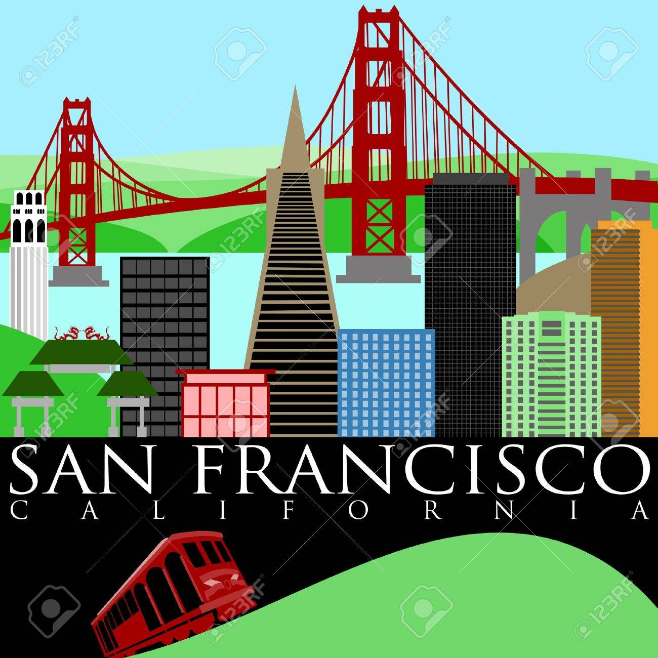 San Francisco California Skyline with Golden Gate Bridge by the Bay Illustration Stock Illustration - 8533337