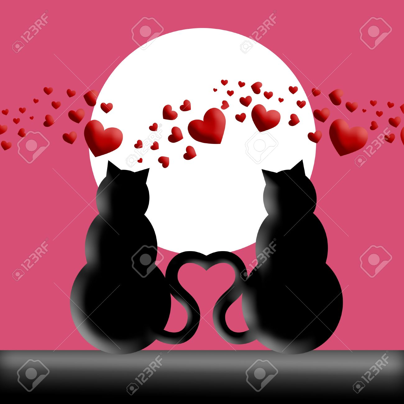Feliz Día De San Valentín De Gatos En El Amor Con La Luna Y La ...