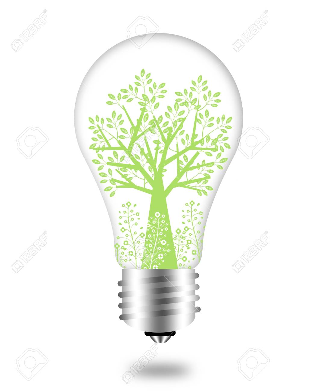 Eco Friendly Bulb with Green Tree and Leaves Illustration Stock Illustration - 8559325
