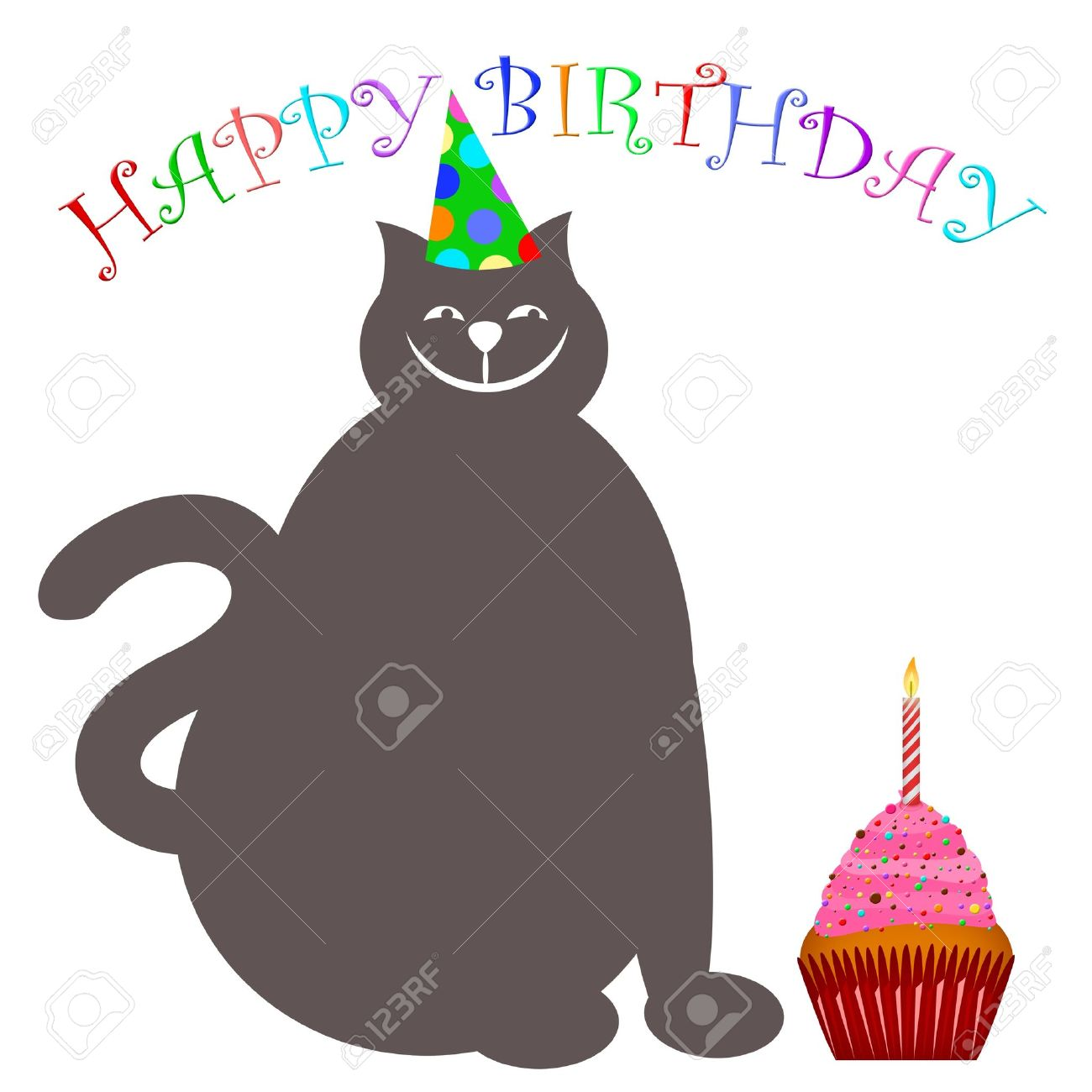 Happy Birthday Cat With Hat Cupcake And Candle Illustration Stock