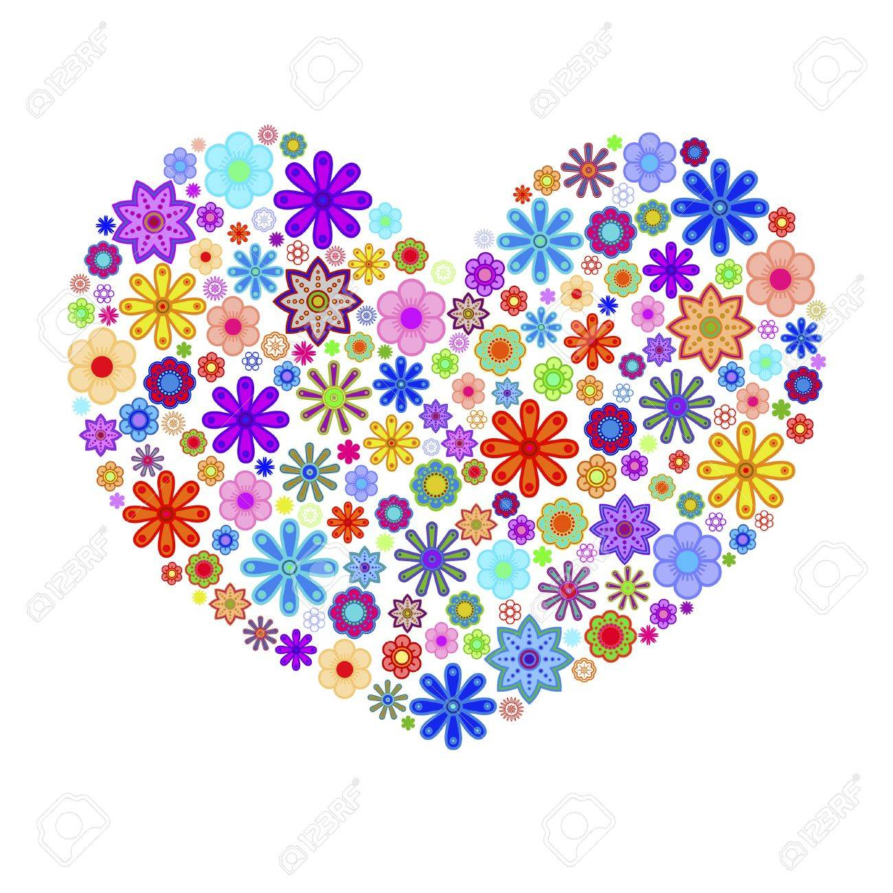 Happy Valentines Day Heart with Colorful Flowers Illustration Stock Photo - 8593106