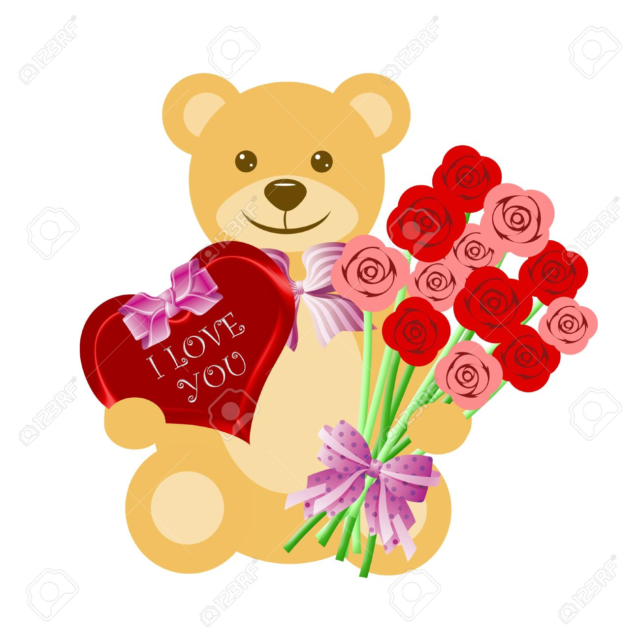 Teddy Bears With Roses Drawings Teddy Bear With Rose Bouquet