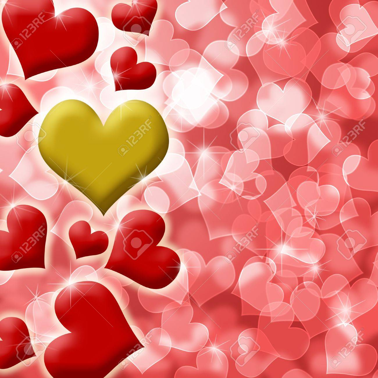 Happy Valentines Day Heart of Gold Blurred Defocused Background Illustration Stock Illustration - 8610569