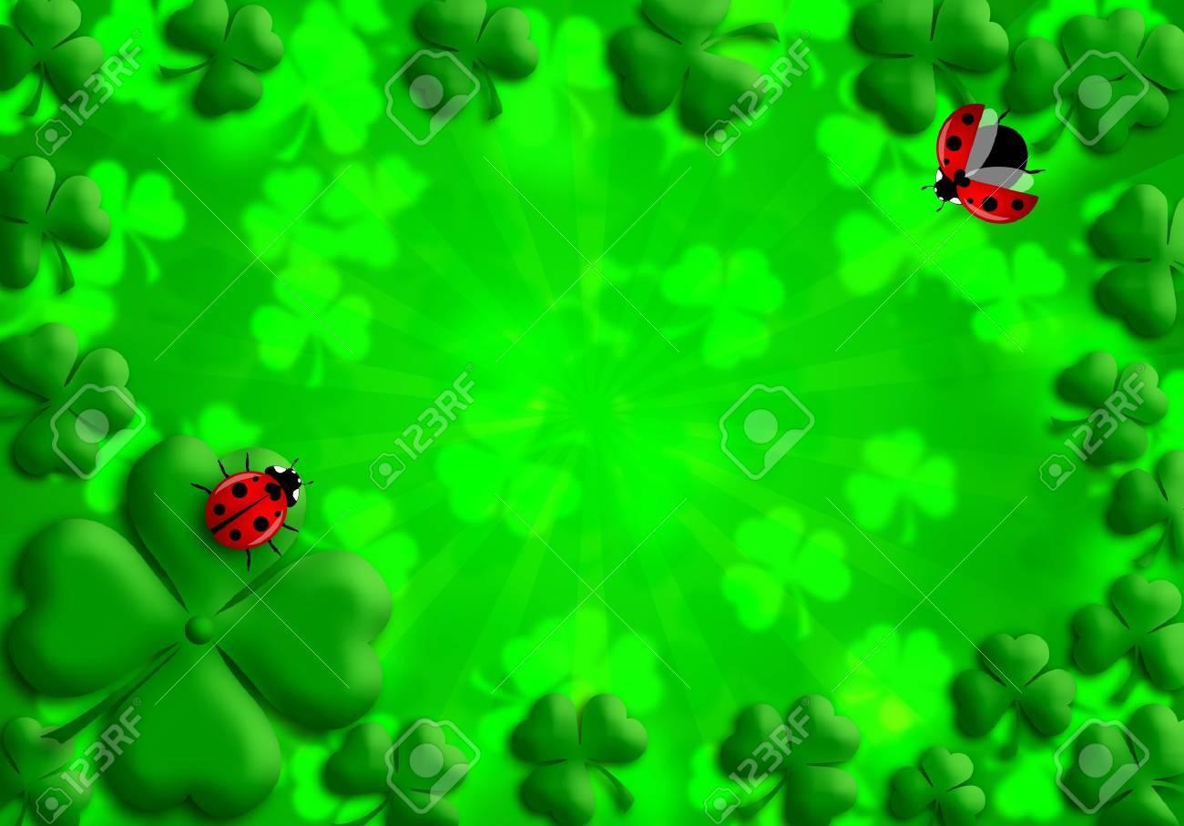 Happy St Patricks Day Shamrock Leaves and Red Ladybugs Illustration Stock Illustration - 8747225